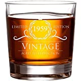 1959 60th Birthday Gifts for Women and Men Whiskey Glass | Funny Vintage 60 Year Old | Anniversary Gift Ideas Him Her Dad Mom Husband Wife | 11 oz Whisky Bourbon Glasses | Party Supplies Decorations