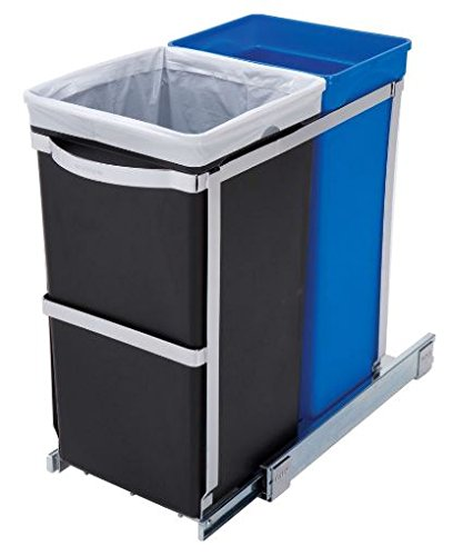 K&A Company Pull Out Blue Recycle Bin Black Kitchen Under Trash Out Can Slide Pull Cabinet Waste Garbage Bin Container Organizer Lid Counter Basket 2 Hardware Storage 9.8L x 18.2W x 19.1H inches by K&A Company