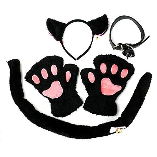 HUELE Cat Cosplay Costume Black Cat Ears Headband Bell Choker Lace Fingerless Gloves Set -