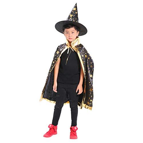 Yezijin Kids Adult Children Halloween Baby Costume Wizard Witch Cloak Cape Robe+Hat Set (Black) for $<!--$5.86-->