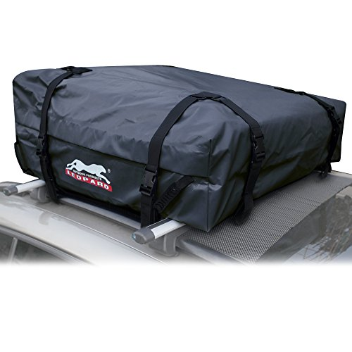 Leopard 100% Waterproof Soft Roof Top Cargo Bag (15 cubic feet), for Car, Van or SUV-Works With or Without Roof ()