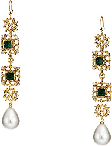 (Kenneth Jay Lane Women's Antique Gold/Crystal/Emerald/White Pearl Fishhook Earrings Crystal/Emerald/Pearl One Size)