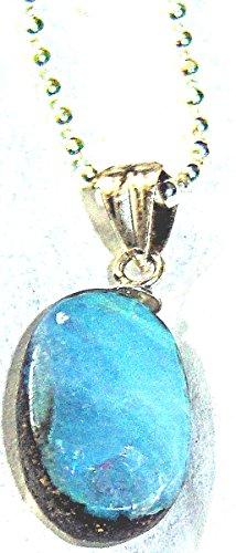 Gorgeous Unique small 20mmRARE Genuine Australian Boulder Opal Pendant w/ss beaded chain
