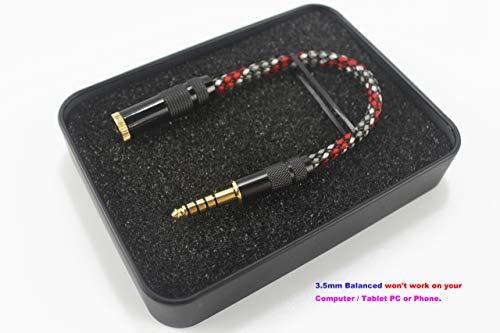 (4.4mm Male to 3.5mm Balanced Female Silver Plated Headphone Earphone Audio Adapter)