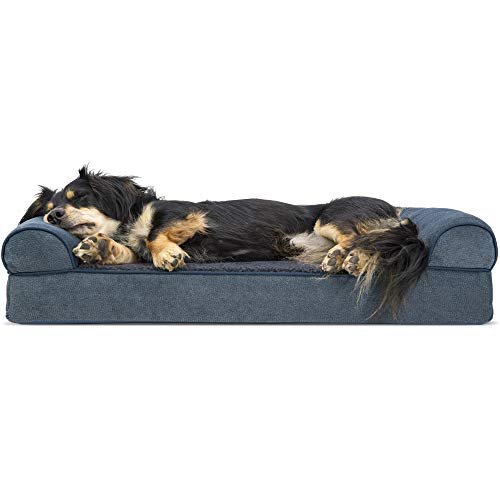 Furhaven Pet Dog Bed | Orthopedic Faux Fleece & Chenille Soft Woven Traditional Sofa-Style Living Room Couch Pet Bed w/ Removable Cover for Dogs & Cats, Orion Blue, Medium