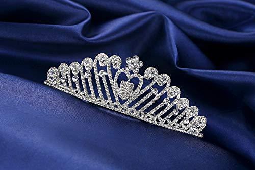 Lovely Shop Handmade Rhinestone Feather Tiara Crown Headband Comb for Wedding Prom Birthday Pegeant Prinecess Party