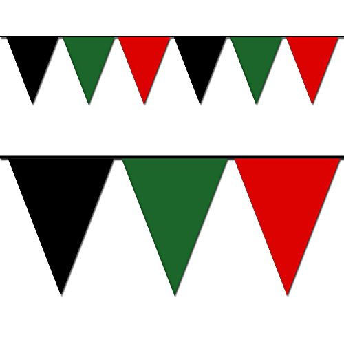 (Ziggos Party Black, Green and Red Triangle Pennant Flag 100 Ft.)