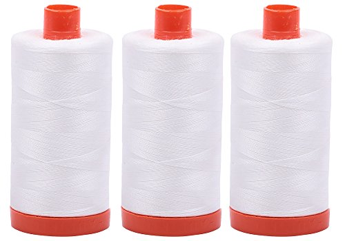 Bundle of 3 Large 1422 Yard Spools of Aurifil 50wt Egyptian Cotton Thread, Color: Natural White, No. A1050-2021