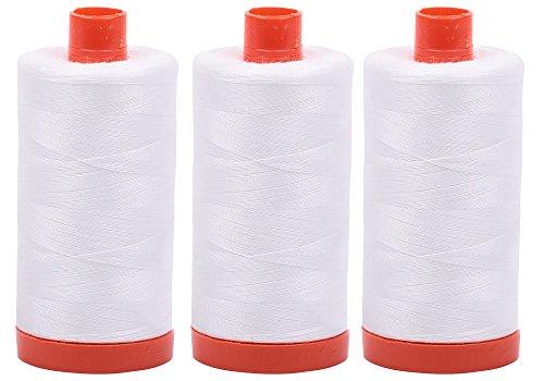 (3-PACK - Aurifil 50WT - Natural White, Solid - Mako Cotton Thread - 1422Yds EACH - MK50-2021)