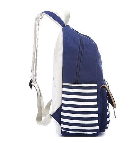 Raya Chica o Lona Escolar para Marcha Tipo Mujer Mochila Bolsa Moda Multi de de de Azul Viaje Bonita Marino Función Casual Mochila WanYang gqRtwfP