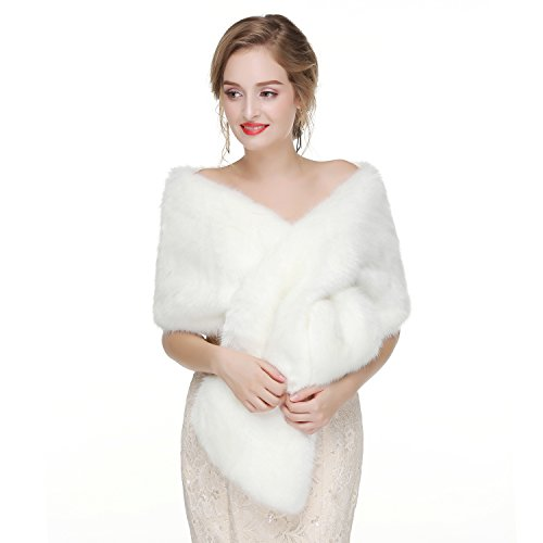 Decahome Wedding Faux Fur Wraps and Shawls Wedding Bridal Stole for Brides and Bridesmaids White Fox ()