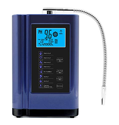 Alkaline Water Ionizer, Up to -500mV ORP, PH 3.5-10.5 Water Purifier Machine, Home Alkaline Water Filter with 7 Water Settings, 6000 Liters Per Filter,Auto-Cleaning,Intelligent Voice (blue)