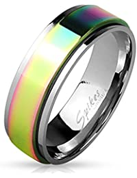 STR-0451 Stainless Steel Rainbow Spinner Surgical Steel Ring