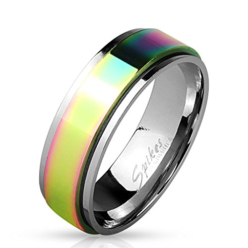 Stainless Steel Rainbow Spinner Surgical Steel Ring (10)