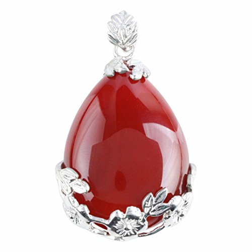 Floral Wrapped Gemstone - rockcloud Gemstone Teardrop Floral Healing Chakra Pendant Carnelian
