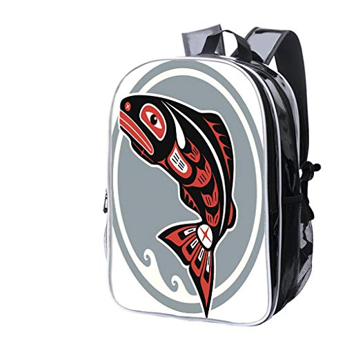 (High-end Custom Laptop Backpack-Leisure Travel Backpack Jumping Fish in American Native Style Water Resistant-Anti Theft - Durable -Ultralight- Classic-School-Black)