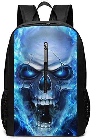 Laptop-Rucksäcke Blue Flame Skull Laptop Backpack 17-inch Laptop Backpack for High School Or College Bookbag
