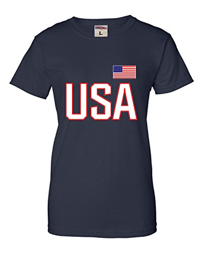 Tee T-shirts Screen Printing - Go All Out Screenprinting Small Navy Womens USA National Pride T-Shirt