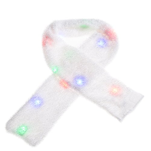 ZPTONE LED Scarf Light Up Costume Rainbow Colors Flashing White Scarf Rave Lights Halloween Costume Party Favors Light Up Toys Novelty Christmas Gift