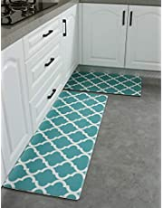 SHACOS Anti Fatigue Kitchen Floor Mat Set of 2 Comfort Mat PVC Leather Cushioned Standing Mats Kitchen Rug Waterproof Non Slip Wipe Clean