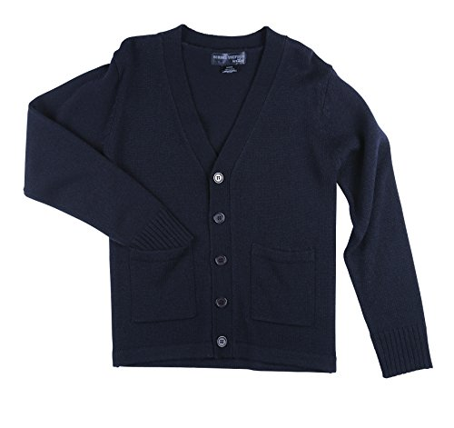 Sweater School Uniform Cardigan (Boys School Uniform V-Neck Button-up Cardigan w/Pockets (Boys 14/16))