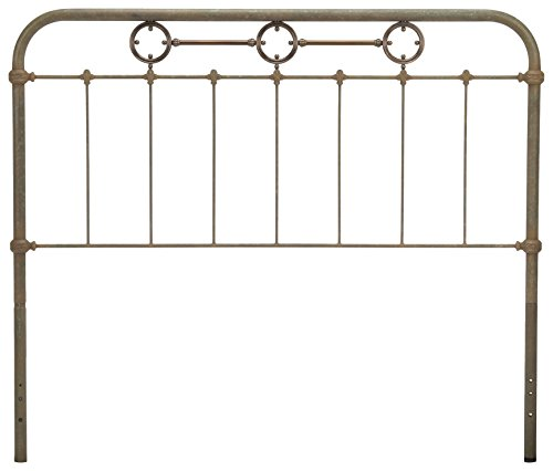 Fashion Bed Group Madera Metal Headboard Panel with Intricate Carved Castings and Brass Color Plated Designs, Rustic Green Finish, (Fashion Bed Group Brass Bed)