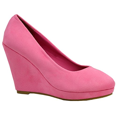 de mujer deslizan cuña se Reino 3 zapatos 8 plataforma Unido tacón bombas para de Fashion mujer los en Cucu de Tamaño Rosa para Las oscuro de fqOPwx70