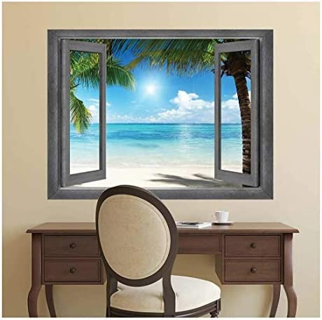 Open Window Creative Wall Decor - Tropical Paradise - Wall Mural, Removable Sticker, Home Decor - 24x32 inches