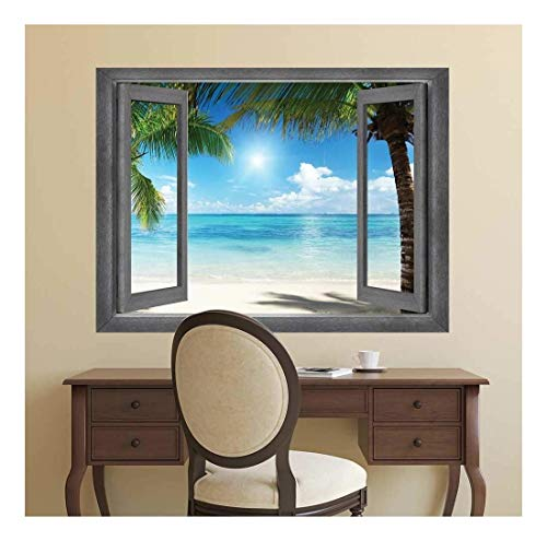 Open Window Creative Wall Decor Tropical Paradise Wall Mural