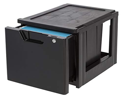 IRIS Stacking File Storage Drawer with Lock, 1 Pack, Lock and - Modular Rolling File