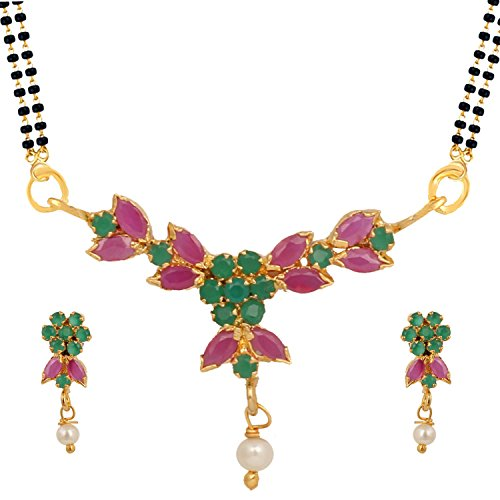 - Efulgenz Indian Bollywood Traditional Gold Plated Ruby Emerald/Color CZ Stone Mangalsutra Pendant Necklace Jewelry with Chain for Women