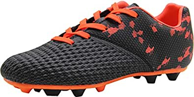 BomKinta Kid's FG Soccer Shoes Arch-Support Athletic Outdoor Soccer Cleats Black Size: 1 Little Kid