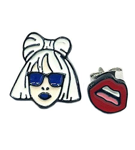 Lady Gaga Post Stud Silvertone Premium Quality Earrings Music Pop Movies Cartoons Superhero Theme