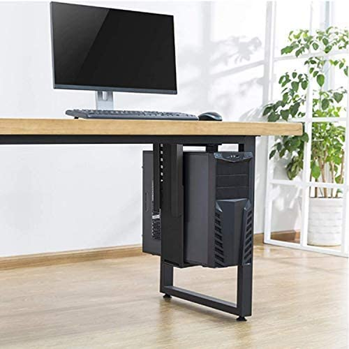 ybaymy cpuホルダー 吊り下げ cpuスタンド デスクトップ用 コンピューターホルダー 調節可能なウォールPCマウント ほこり対策 pc 吊り下げ 耐荷重25kg ブラック 人間工学オフィス製品家具