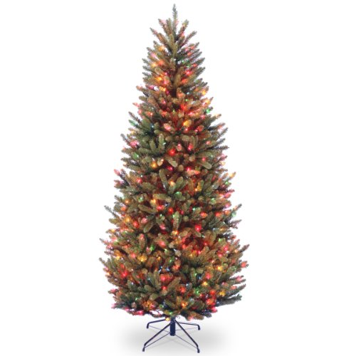 National Tree 7.5 Foot Natural Fraser Fir Slim Tree with 600 Multicolor Lights, Hinged (NAFFSLH1-75RLO) ()