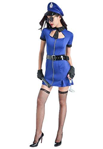 Cop Costume Women - Adult Sexy Police Costume Fancy Bad Cop Costume (XL) (Sexy Bad Cop Costumes)