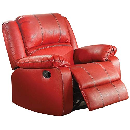 (ACME Zuriel Red Faux Leather Rocker Recliner)