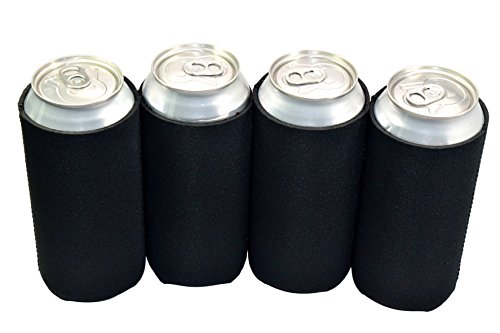 QualityPerfection 6 Black Blank Neoprene Collapsible 16oz Tall Can Coolers Party Drink Beer coolie Coolies Sleeves | Insulated Cooler | Stitched Fabric Edges | Perfect 4 DIY Proje (Black, 6) by QualityPerfection