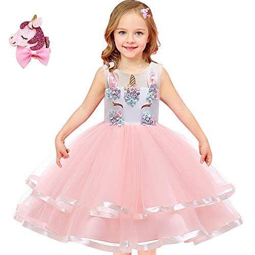 Girls Unicorn Costume Outfit Pageant Princess Party Dress with Unicorn Hair Clips Size 3T 4T 5T 6T 7T 8T 9T (Pink, 8-9 Years) -