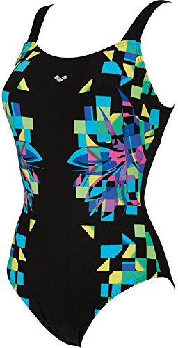 arena Scenarium One Piece Wing Back Swimsuit Women black/soft green 2016 Badeanzug