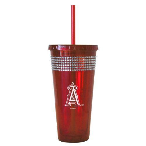 MLB Los Angeles Angels Bling Straw Tumbler, 22-Ounce - Anaheim Angels Tumbler
