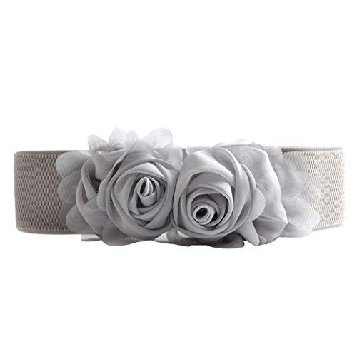 - AutumnFall® Women Fashion Double Rose Flower Buckle Elastic Waist Belt Waistband (Gray)