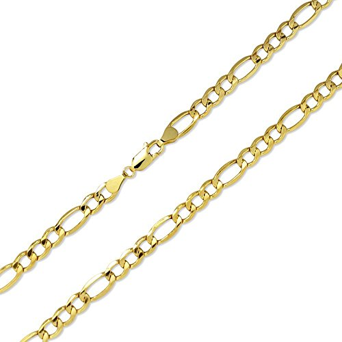 Joule Shop 10K Hollow Yellow Gold 5.5mm Figaro Link Chain Necklace, 18-30