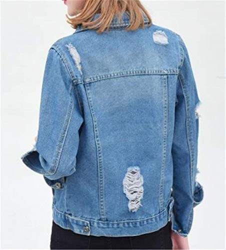 Di Stlie Single Manica Blue2 Giovane Casual Breasted Lunga Giacca Donna Bavero Autunno Grazioso Corto Light Anteriori Elegante Tasche Moda Jeans Giacche Cappotto Giaccone OxxHRYwqg