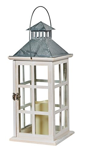 Glass Top Tins - Smart Design 84068-LC Camden Lantern with LED Candle, Antiqued White Frame with Amber LED Light, Crafted From Wood with Tin Top and Glass Panes