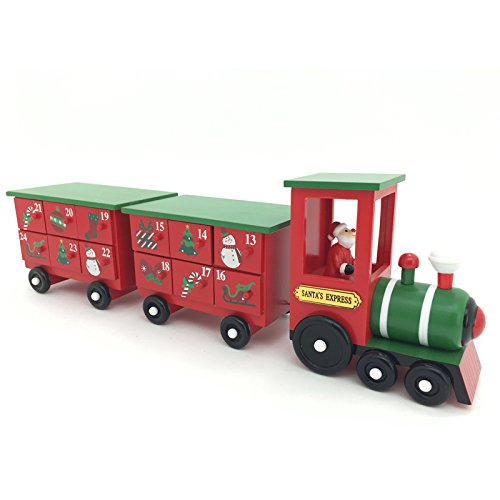 - 17.5 Inch Christmas Wooden Advent Calendar Train with Hand Painted Santa Claus and 24 Drawers to Fill Candy or Small Gifts