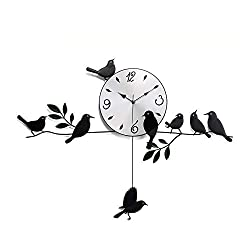 FONGFONG 3D Big Iron Silent Wall Clock with Bird Pendulum DIY Clock Modern Style Battery Operated Noiseless Hanging Clock Black for Room Home Office Decorations Gifts