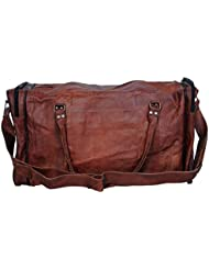 hlc 24 Leather Duffel Travel Gym Overnight Weekend Leather Bag Sports Cabin