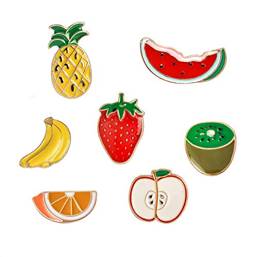 RINHOO FRIENDSHIP Cute Enamel Lapel Pin Sets Carton Animal Plant Book Colorful Badge for Clothes Bags Decor (Pineapple Strawberry Apple Set of 7)