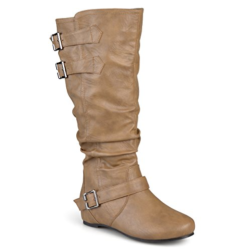 - Journee Collection Womens Regular Sized and Wide-Calf Buckle Slouch Low-Wedge Boots Taupe, 9 Wide Calf US